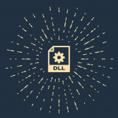 Beige DLL file document Download dll button icon isolated on dark blue background DLL file symbol Abstract circle random dots Vector Illustration