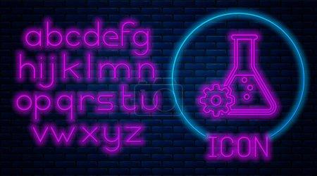 Glowing neon Bioengineering icon isolated on brick...