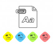 Grey line OTF file document Download otf button icon isolated on white background OTF file symbol Set icons in color rhombus buttons Vector Illustration