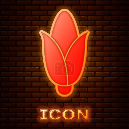 Illustration for Glowing neon Corn icon isolated on brick wall background.  Vector. - Royalty Free Image