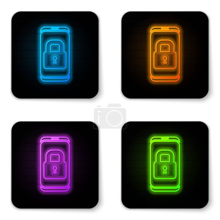 Illustration for Glowing neon Smartphone with closed padlock icon isolated on white background. Phone with lock. Mobile security, safety, protection concept. Black square button. Vector. - Royalty Free Image