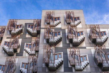 Facade of MSP building, part of Scottish Parliamen...