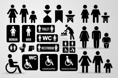 Set of WC black sign for restroom. Toilet door pla...