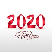 New Year 2020 greeting card Handmade red painted strips bent into numbers shapes Vector illustration Isolated on white background