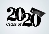 Class of 2020 with graduation cap Congratulations on graduation with the inscription graduate Flat simple design Vector Illustration Isolated on white background