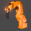 Industrial robotic arm isolated on grey background...
