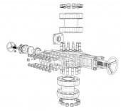 Blowout preventer Vector rendering of 3d