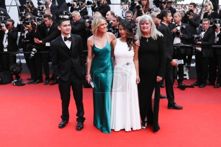 CANNES, FRANCE - MAY 18: (R-L) Writer Denise Meyers, actress Nini Le Huynh and director Robin Wright and actor of 'The Dark of Night' attends the 'Loveless (Nelyubov)' screening during the 70th annual Cannes Film Festival at Palais des Festivals on M