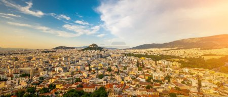 Photo for Panoramic view on the cityscape of Athens city from Acropolis, Greece - Royalty Free Image