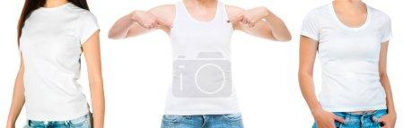 Photo pour Ensemble de filles dans un singulet blanc et haut manches courtes isolé sur fond blanc pour votre conception - image libre de droit