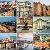 Collage of sights of Warsaw