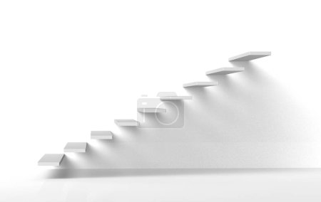 Photo for White stairs steps on white gallery style wall rising upwards 3d - Royalty Free Image