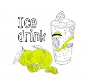 Hand drawn vector summer ice drink with cittrus Lemon and mint Detox water Linear illustration - Vector illustration
