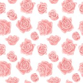 Seamless pattern with pink and white roses Romantic wallpaper Hand painted watercolor botanical illustration