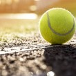 Tennis Ball on a tennis court with copy space...