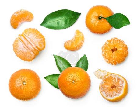 Photo pour Ensemble de mandarine fraîche avec feuilles isolé sur blanc - image libre de droit