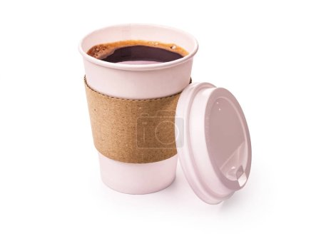 Photo for Coffee in a paper cup isolated on white background - Royalty Free Image