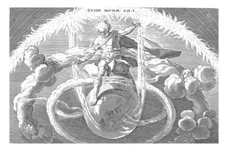 Foto de Orden en el Caos, Una figura masculina de dios, de pie en un globo terráqueo y bajo un cielo estrellado ardiente, trae orden al Caos. Alrededor de la tierra los cuatro vientos y el agua fluyen, grabado vintage. - Imagen libre de derechos
