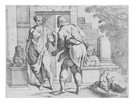 Odysseus receives alms from one of his servants, O...