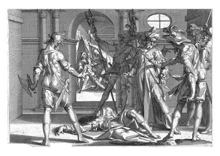 Photo pour L'avocat Aemilius Papinianus vient d'être décapité par ordre de l'empereur Caracalla, gravure vintage. - image libre de droit