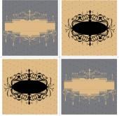 Set of four (4) vintage labels with ornate elegant abstract floral designs black brown gray Vector illustration