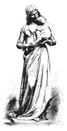 Clotilde of surville, vintage engraving.