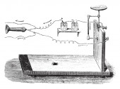 Microphone Hughes vintage engraved illustration Magasin Pittoresque (1882)
