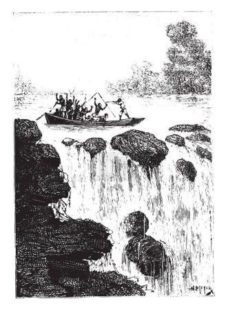 And sculling shattered by a bullet shattered, vintage engraved illustration