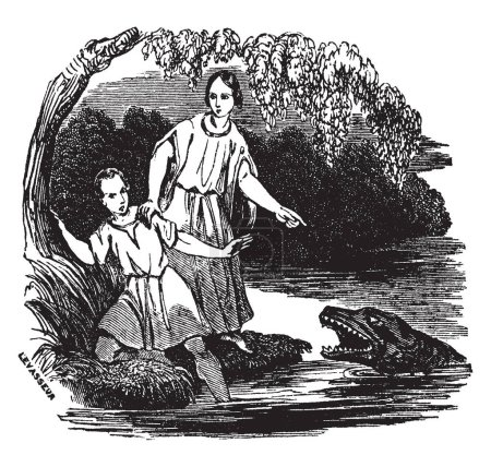 An ancient picture of Tobias and Angel. In the picture Tobias is attacked by a monstrous fish. The angel protects him and instructs him to save parts of the fish to use as medicine, vintage line drawing or engraving illustration.