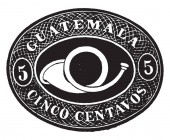 This illustration represents Guatemala Envelope Cinco Centavos in 1890 vintage line drawing or engraving illustration