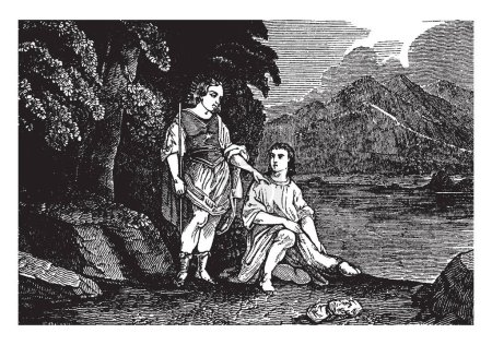 An ancient picture of Tobias and angel Raphael. Angel Raphael who appears as one of his kinsmen meets the Tobias near a river, vintage line drawing or engraving illustration.