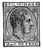 This illustration represents Philippine Islands 2 Centavos Stamp in 1880 vintage line drawing or engraving illustration
