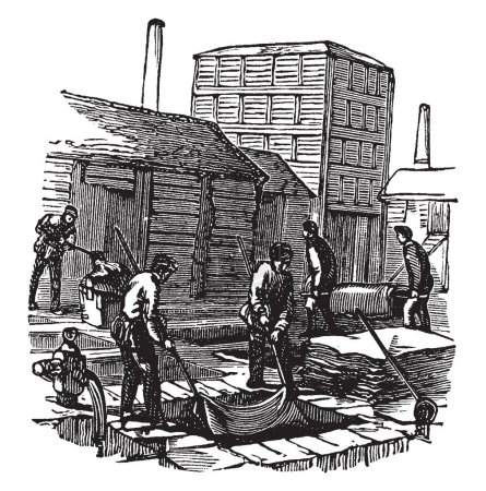 This illustration represents Leather making consists essentially of the skins of animals chemically altered, vintage line drawing or engraving illustration.