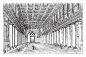 Santa Maria Maggiore in Rome built shortly the time of Constantine Roman Catholic architecture vintage line drawing or engraving illustration