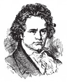 Ludwig van Beethoven 1770-1827 he was a German composer and pianist famous for his compositions 9 symphonies 5 piano concertos 1 violin concerto 32 piano sonatas 16 string quartets vintage line drawing or engraving illustration