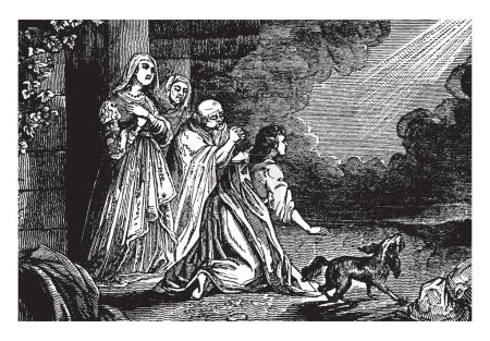 An ancient picture of Raphael departing back into heaven, leaving Tobit, Tobias, Anna, and Sarah after revealing himself as an angel, vintage line drawing or engraving illustration.