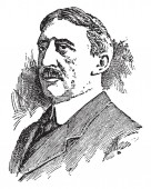 Edwin Anderson Alderman, 1861-1931, he was president of the university of north Carolina, Tulane University, and the university of Virginia, vintage line drawing or engraving illustration