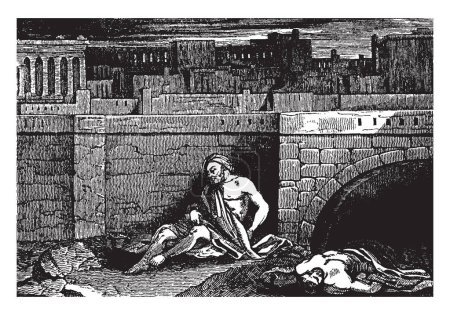 An ancient picture of Tobias sleeping by a wall after he has exhausted himself with gathering the dead for a proper burial, vintage line drawing or engraving illustration.