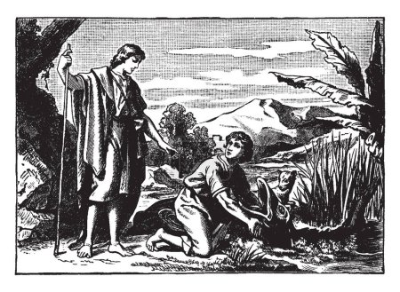 Tobias is caught a fish whose mouth is open, there is another small animal. There's an angel standing behind them in a white cloth, vintage line drawing or engraving illustration.