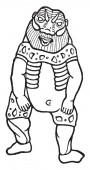 In this image Egyptian God Bes known as the cheerful vintage line drawing or engraving illustration