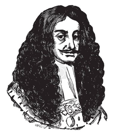 Charles II, 1630-1685, he was king of England and Ireland from 1660 to 1685, and king of Scotland from 1649 to 1651, vintage line drawing or engraving illustration
