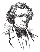 James Gordon Bennett 1795-1872 he was the founder editor and publisher of the New York Herald and a major figure in the history of American newspapers vintage line drawing or engraving illustration