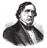 Lewis Cass 1782-1866 he was an American military officer politician statesman and United States Senator from Michigan vintage line drawing or engraving illustration