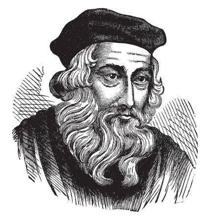 John Wycliffe, 1320s-1384, he was an English scholastic philosopher, theologian, Biblical translator, reformer and seminary professor at Oxford, vintage line drawing or engraving illustration