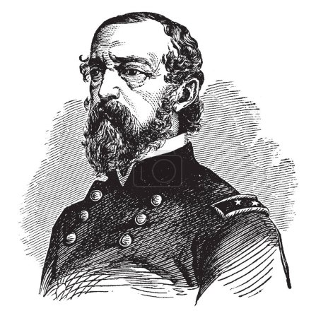 George Gordon Meade, 1815-1872, he was a United States army officer, union general and civil engineer involved in the coastal construction of several lighthouses, vintage line drawing or engraving illustration