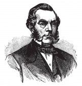 Edwin Dennison Morgan, 1811-1883, he was the 21st governor of New York from 1859 to 1862 and United States senator from 1863 to 1869, vintage line drawing or engraving illustration