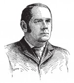 Marcus Alonzo Hanna 1837-1904 he was an American businessman and republican politician United States senator from Ohio and chairman of the republican national committee vintage line drawing or engraving illustration