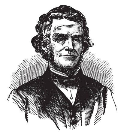 William Dennison, 1815-1882, he was a Whig and republican politician from Ohio, and the 24th governor of Ohio, vintage line drawing or engraving illustration