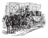 The President Equipage is an elegant horse drawn carriage with its retinue of servants is an equipage, vintage line drawing or engraving illustration.
