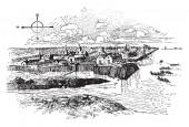 Jamestown  was the first permanent English settlement in the Americas in Virginiavintage line drawing or engraving illustration